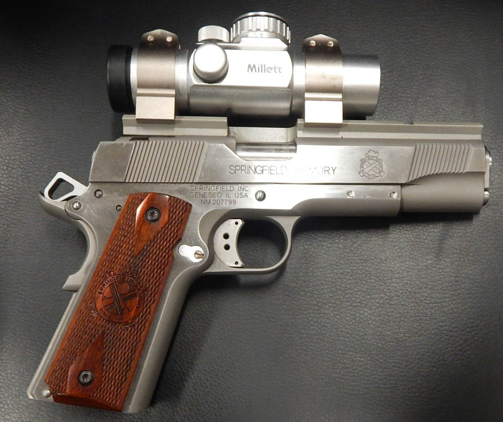 Springfield Armory stainless steel 1911 with red dot and trigger job